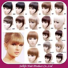 Fashion Women Clip in Front Bang Fringe Straight Human Hair Extensions 15 color