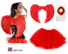 Angel Fairy Feather Wings Halo Adult Fancy Dress Costume Outfit Hen Party RED