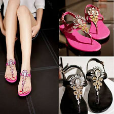 New Women Fashion Rhinestone T-strap Thong Oxford Flat Sandals Leather Shoes