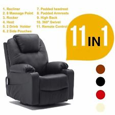 Massage Recliner Sofa Chair Vibration Heat w/ Control Leather Lounge Chair 7020
