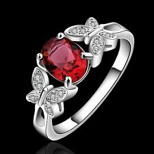 925 Sterling Silver Filled Ring Red Zircon Crystal Butterfly Fashion Jewelry