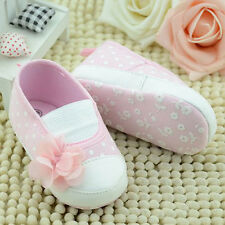 Cute Infant Baby Shoes Girls Flower Soft Sole Slip-on Sneakers Crib Shoes 0-18M