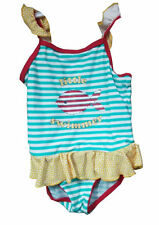 Newborn Infant Baby Girls Swimwear Striped Blue Fish Swimsuit One Piece Costume
