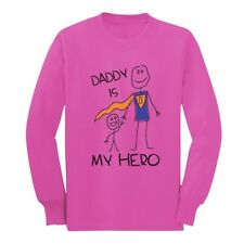 Daddy Is My Hero Drawing - Super Dad Father's Day Gift Long sleeve kids T-Shirt