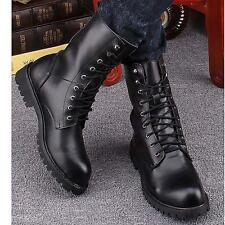 Men's Combat Leather Boots Lace-Up Boots Military Black Riding Ankle Boots Shoes