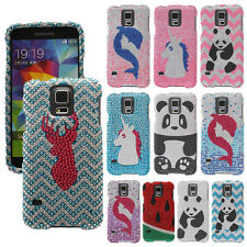 For Samsung Galaxy S5 G900 i9600 Bling Crystal Gem Hard Protector Cover Case