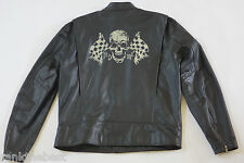 Harley Davidson Men Vintage Racing Skull Black Leather Jacket 97035-11VM XL