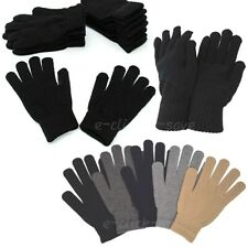 WHOLESALE LOTS UNISEX MEN WINTER DARK SOLID ASSORTED COLORS WARM KNITTED GLOVES