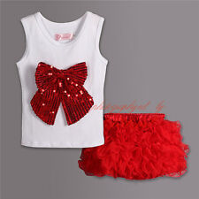 Baby Girls Party Outfit Kids Sequinned Bow Vest Top + Red Tutu Layered Skirt Set