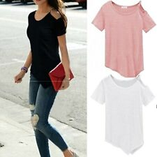 Sexy Women's Short Sleeve Loose T-Shirt Summer Casual Fashion Tops Blouse Solid