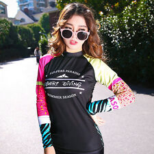 Women's Rash Guards Shirt Long Sleeve Sun Shirt Uv Surf Swim Lycra Top Swimwear