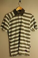 VOLCOM A011707 BARFLY POLO S/S MEN GREEN AND WHITE STRIPED POLO SHIRT
