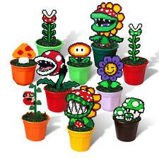 10 Super Mario Bros Figures in Pots Pixel Beads Handmade Toy 8 bit Decoration