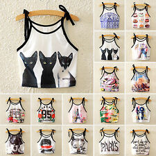 Women Pattern Print Crop Tops Casual Strappy Camisole Stretch Lingerie Tank Vest