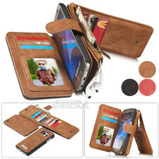 Genuine Leather Zipper Wallet Card Pocket Multifunction Case For Samsung Galaxy
