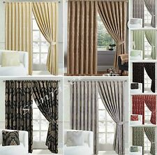 LUXURY JACQUARD Curtains Fully Lined Ready Made Tape Top Pencil Pleat Curtains