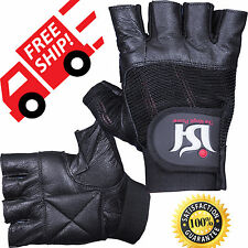 Leather Weight Lifting Gloves Gym Power Lifter Padded Palm Exercise Training bar