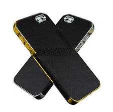 for iPhone 5 5s 5G Frame Luxury PU Leather Chrome Hard Back Case Cover uni