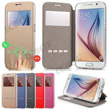 Ultra Thin View Window Flip PU Leather Kickstand Case Cover For Samsung & iPhone