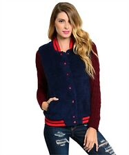 Plush Fleece Letterman Style Sweater Jacket  Women & Juniors Navy & Burgundy