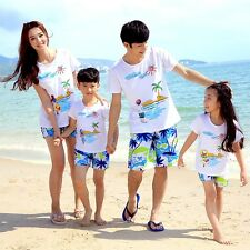 2016 Summer family clothes outfits parent girls boys t shirt beach Pants shorts