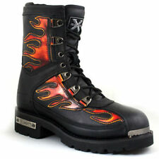 Xelement Mens Flames Black Leather Riding Motorcycle Biker Boots
