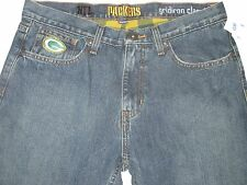 Mens 30 x 32 GREEN BAY PACKERS Denim BLUE JEANS Winter FLANNEL LINED Pants NWT