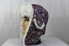 Lady's Flowers Faux Fur Aviator/Russian Winter Ear Flap Hat,Trapper,Trooper