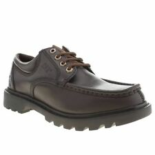 CAT CATERPILLAR MENS REPOSITION DARK BROWN LEATHER CASUAL SHOES
