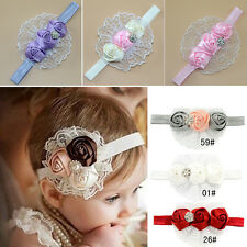 Little Girls Fashion Elastic Headbands Rose Flower Crystal Baby Hair Accessories