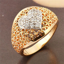 Hot 14K Yellow & White Gold Plated crystal Crystal Womens Love Band Ring