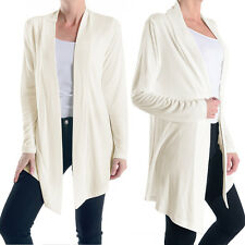Women's Open-Front Long Sleeve Soft Draped Rayon Cardigan Sweater Longline Tunic