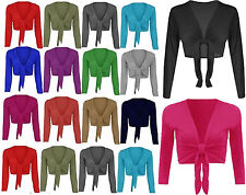 New LADIES PLAIN TIE UP CROP SHRUG WOMENS WRAP BOLERO CARDIGAN Plus Size 8-26
