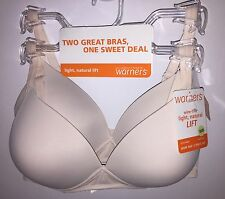 Two WARNERS 4003 Wire Free Light Natural Lift Bras Ivory NWT $60 Retail