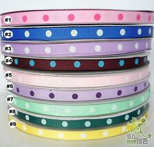 "3/8""9mm Mixed Colors Polka Dots Grosgrain Ribbon Craft Sewing 100Yards U pick"
