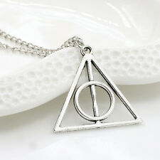 Harry Potter Deathly Hallows Charms Pendants Triangle Long Chain Necklace Gift