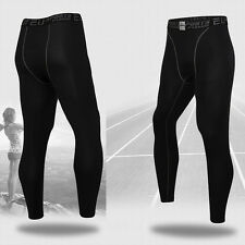 Mens Sports Compression Thermal Base Layer Under Skin Tights Fitness Long Pants