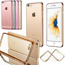 NEW Apple iPhone 7, 7 Plus Case Clear Crystal Plating TPU Soft Gel Case Cover