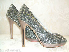 RRP £129 BNWB MODA IN PELLE SIZE 6 KATEY REAL SUEDE DIAMANTE PEEPTOE COURT SHOES