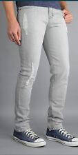Gray skinny jeans faded distressed made  in the USA Skinny fit stretch