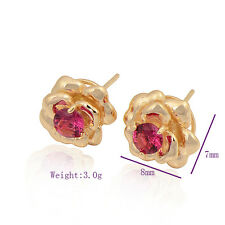 Classic 9K Yellow Gold Filled CZ Womens Flower Stud Earrings