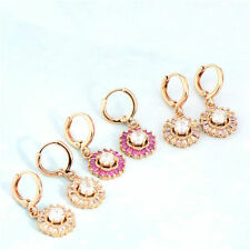 Deluxe 18k Rose Gold Filled crystal Crystal womens Flower dangle earrings
