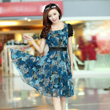 new summer Korean fashion temperament elegant chiffon printing dress