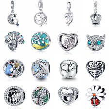 925 Sterling Silver CZ Charm Beads Pendant Fit sterling Bracelet Necklace Chain