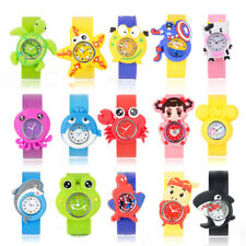 Fashion Cartoon Slap Snap On Silicone Wrist Watch Boys Girls Children Kids