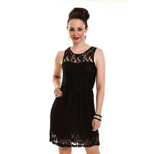 Women's Alluring Black Floral Lace Sleeveless Gothic Alternative Dress Goth Emo