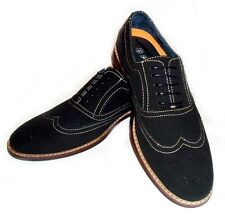NEW  MENS LACE UP WING TIP OXFORDS FAUX SUEDE LEATHER LINED DRESS SHOES / BLACK