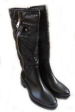 WOMENS KNEE-HIGH FASHIONABLE MATTE VINYL FUNKY BOOTS WITH SOFT CUSHION TOP/BLACK