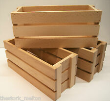 Solid wooden crate storage boxes 2 sizes Home decor shop display retail antique