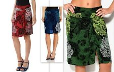 NEW_DESIGUAL FAL_CAROLE Gathered RED/BLUE/GREEN  Skirt Viscose